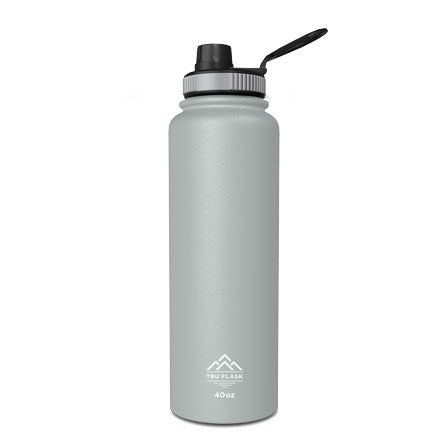 Gray 40oz Double Walled Insulated Water Bottle | Tru Flask
