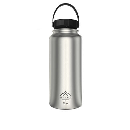 Silver 32oz Double Walled Insulated Water Bottle | Tru Flask