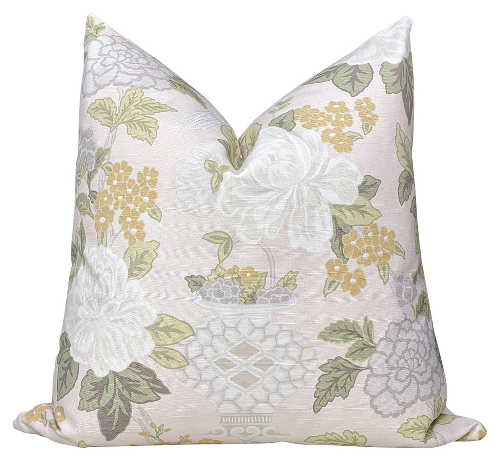 Abbeyville Blush Floral Print Pillow - Land of Pillows