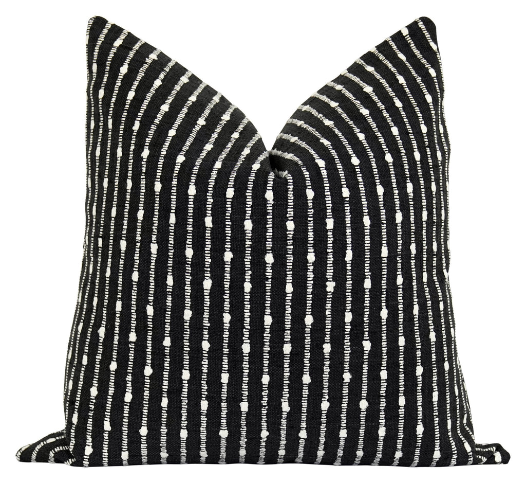 Aberdeen Black Woven Stripe Pillow - Land of Pillows