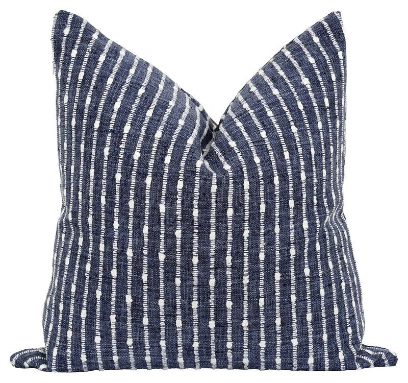 Aberdeen Marina Blue Woven Stripe Pillow - Land of Pillows