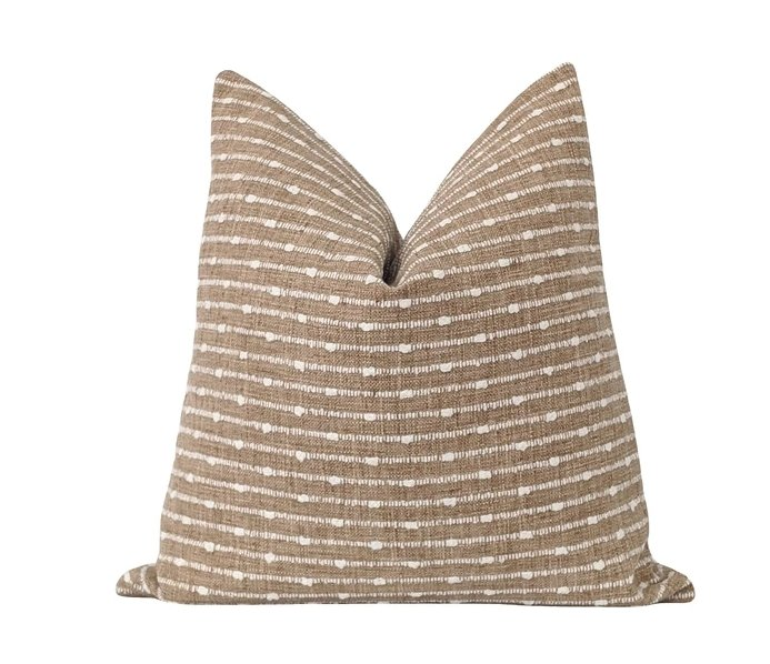 Aberdeen Woven Tan and Cream Stripe Pillow - Land of Pillows