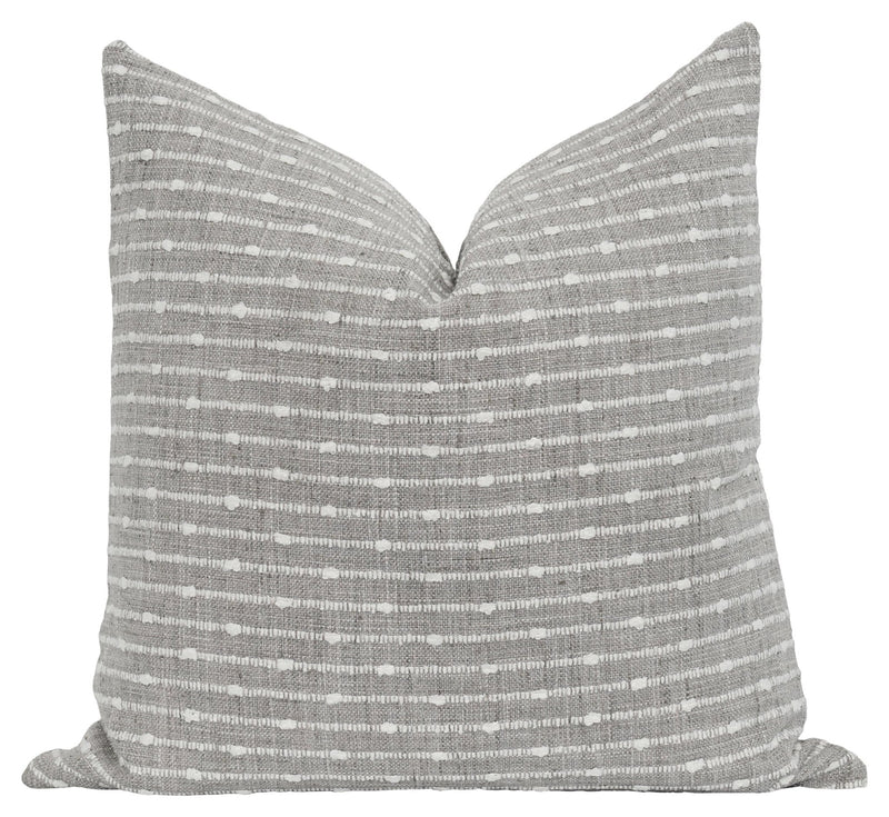 Storm Grey French Cottage Stripe Pillow
