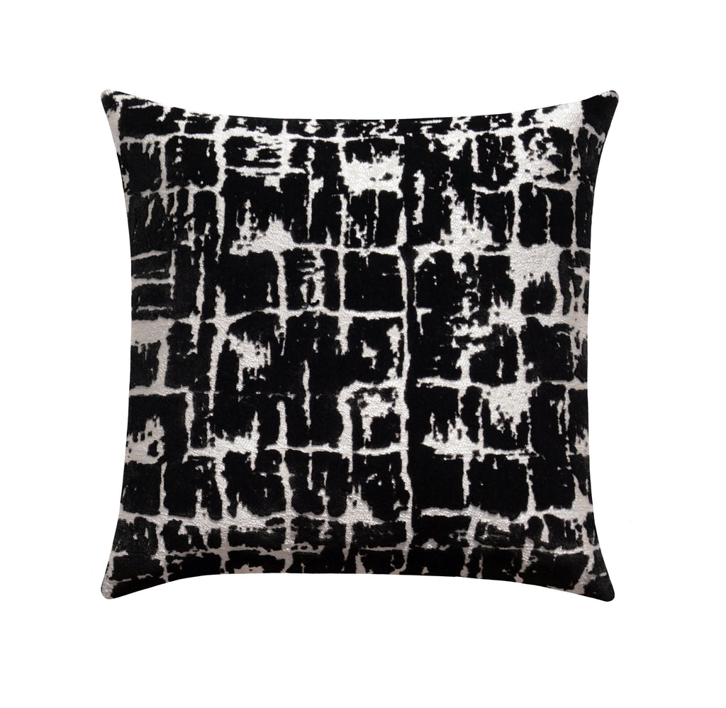 Abstract Contemporary Silver & Black Velvet Pillow - Land of Pillows