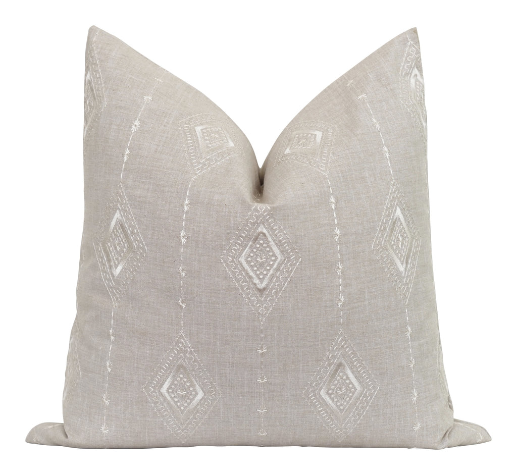 Amelia Beige Embroidered Stripe Pillow - Land of Pillows