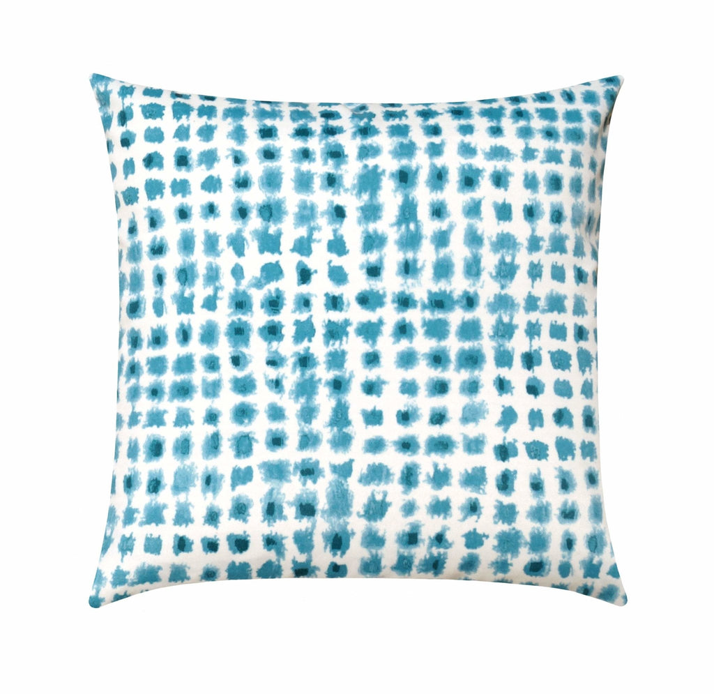 Aqua and Teal Ikat Checkered Square Outdoor Pillow - Land of Pillows