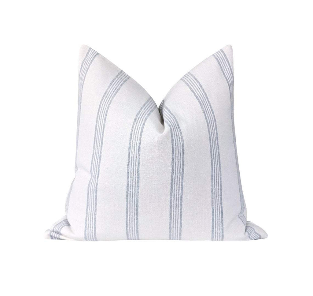 Aqua Blue French Country Stripe Linen Pillow - Land of Pillows