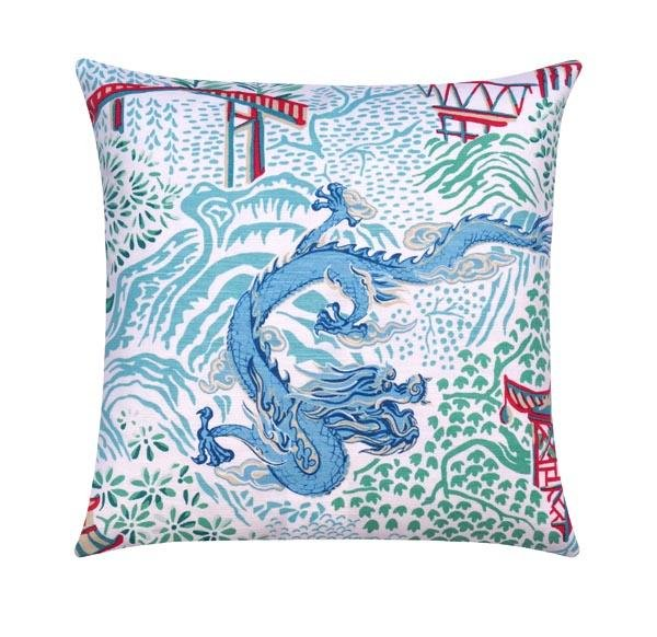 Aqua Chinese Dragon Chinoiserie Toile Pillow - Land of Pillows