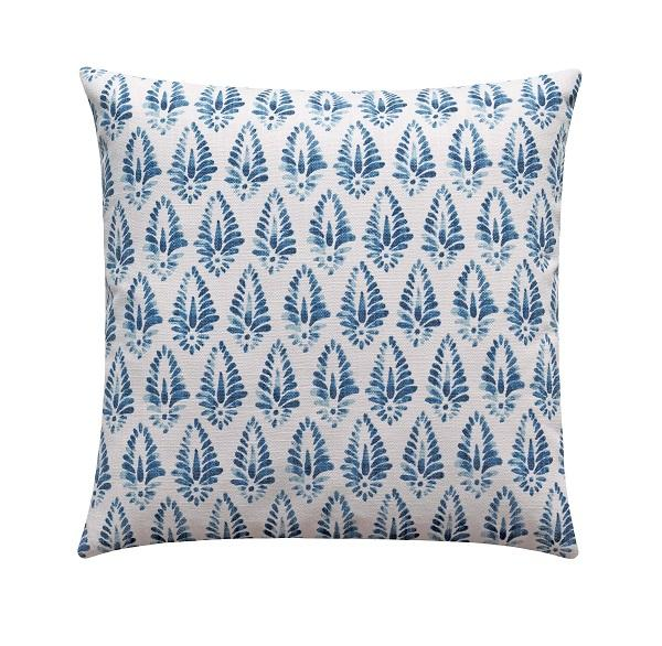 Azure Blue Linen Floral Damask Pillow - Land of Pillows