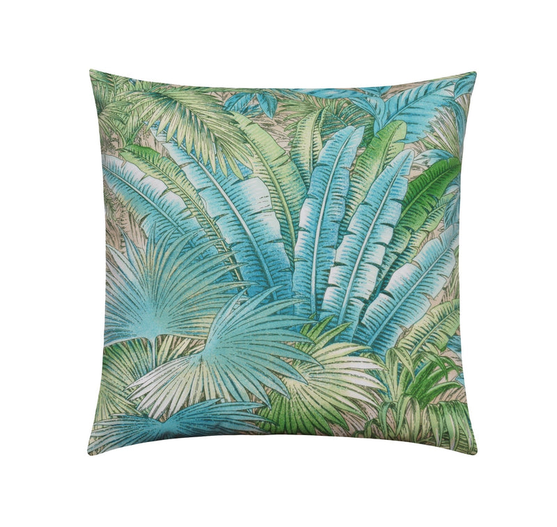 Bahamian Breeze Aloe Turquoise Banana Leaf Outdoor Pillow - Land of Pillows