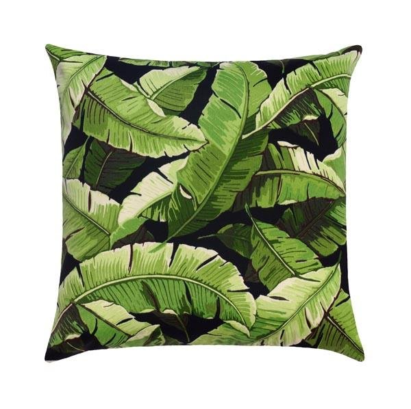Balmoral Palm Noir Black Outdoor Banana Leaf Pillow - Land of Pillows