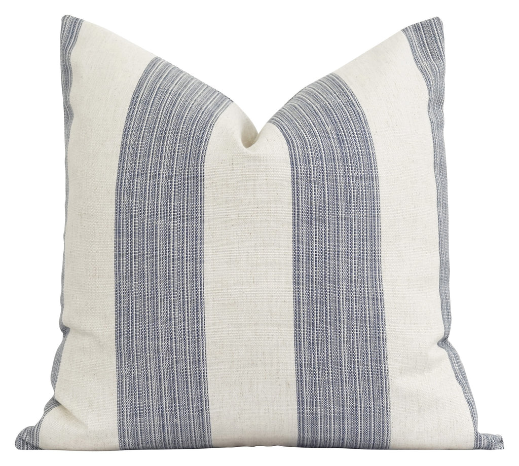 Bedford Woven Indigo Stripe Pillow - Land of Pillows