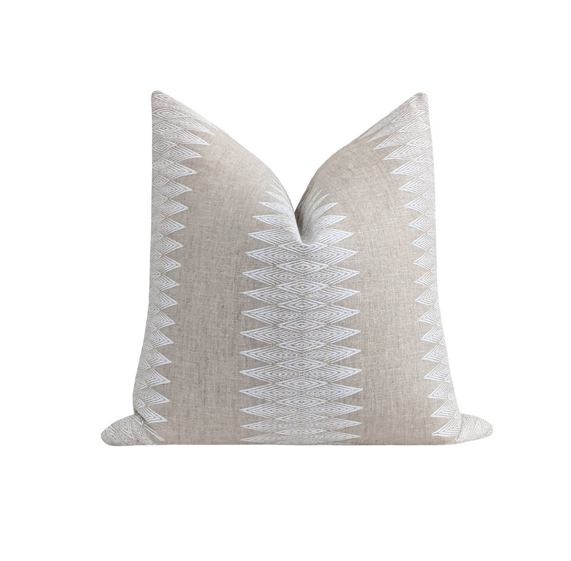 Beige and White Tribal Stripe Linen Pillow - Land of Pillows