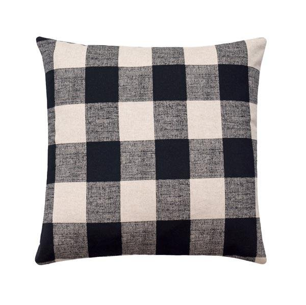 Black and Natural Linen Buffalo Check Plaid Pillow - Land of Pillows