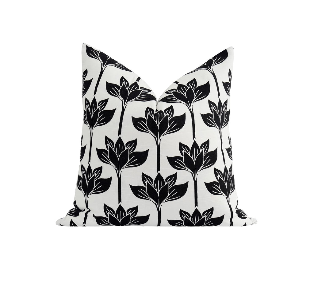 Black and White Lotus Flower Pillow - Land of Pillows