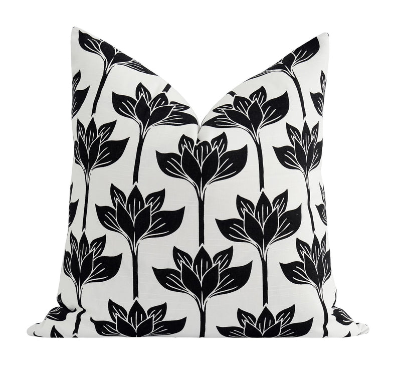 Flock Onyx Black Velvet Bird Silhouette Pillow