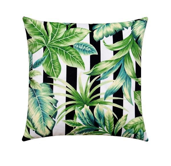 Black and White Stripe Tropical Banana Leaf Outdoor Pillow - Land of Pillows