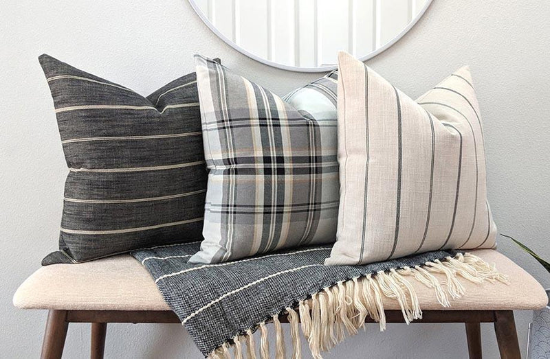 Black Gray Cream Tan Tartan Plaid Pillow - Land of Pillows