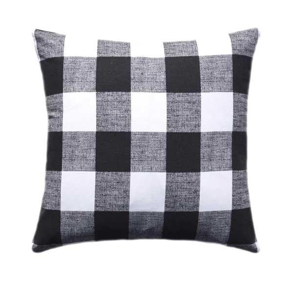 Black Outdoor Buffalo Check Plaid Pillow - Land of Pillows