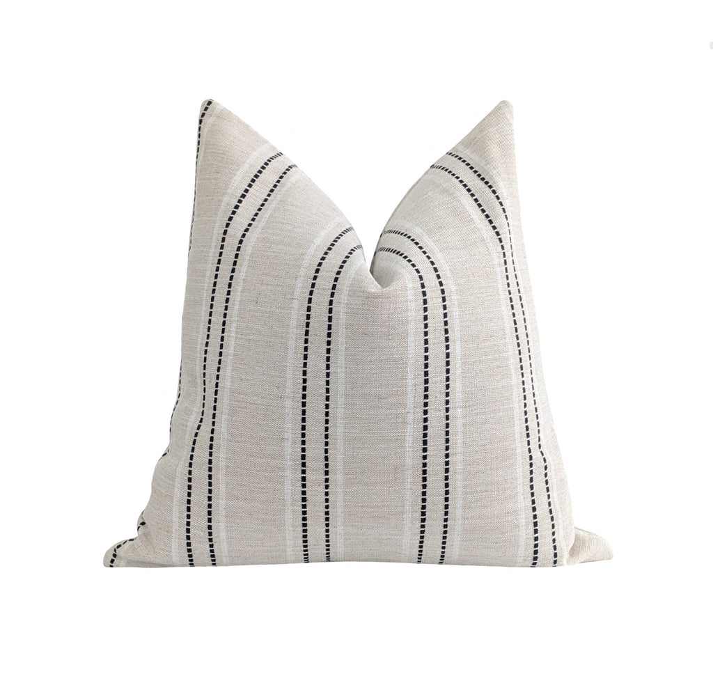 Black White & Natural Beige Embroidered Stripe Pillow - Land of Pillows