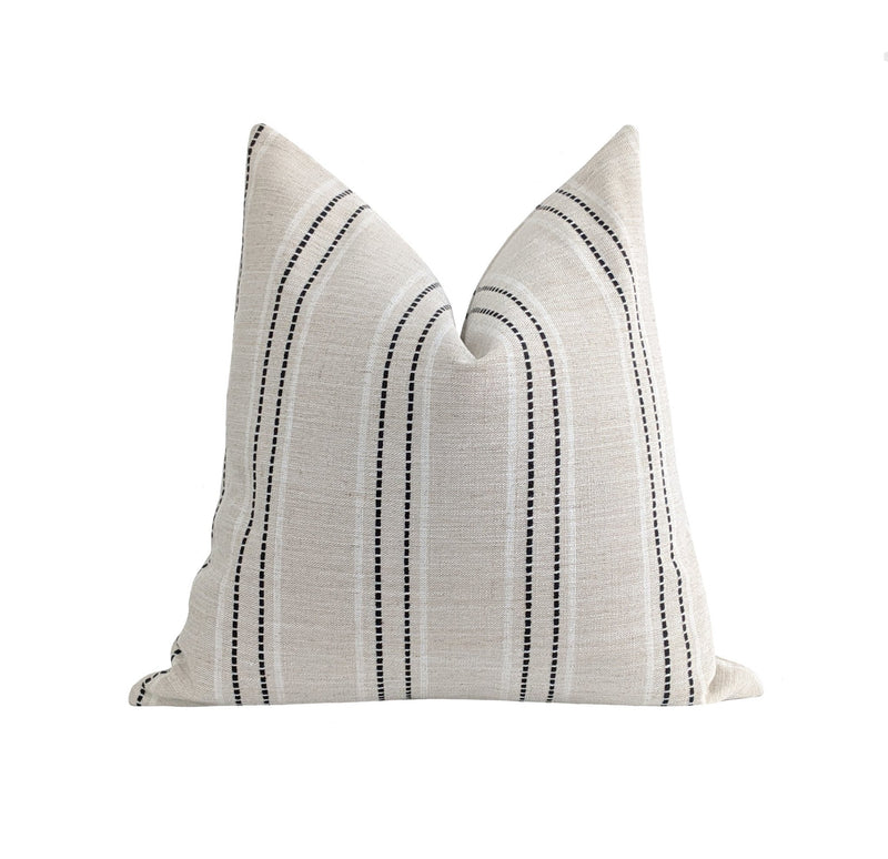 Aqua Blue French Country Stripe Linen Pillow