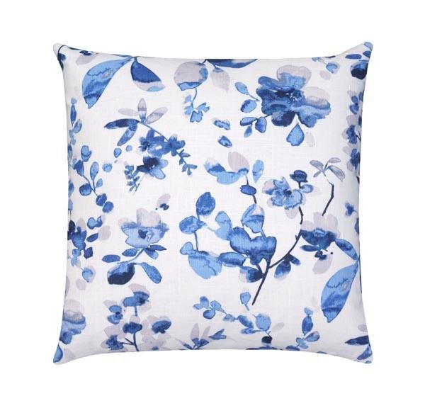 Blue and Grey Linen Floral Pillow - Land of Pillows