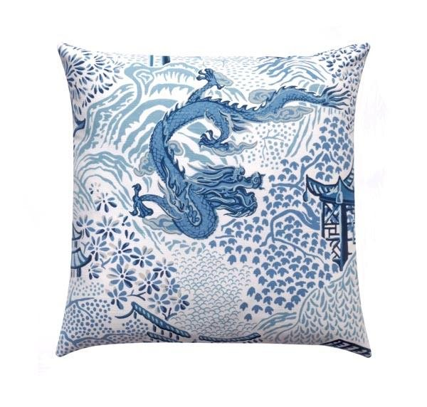 Blue Chinese Dragon Chinoiserie Toile Pillow - Land of Pillows