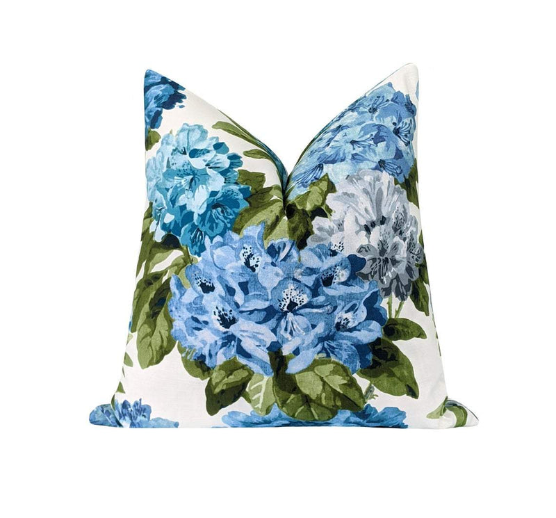 Blue Green and Grey Floral Pillow - Land of Pillows