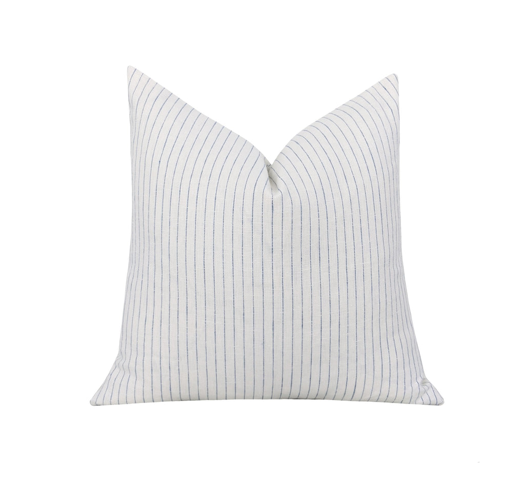 Blue Ticking Stripe Linen Pillow - Land of Pillows