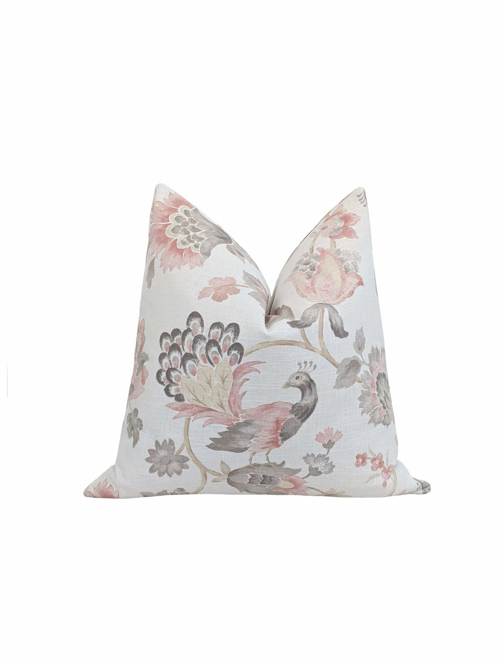 Blush Pink & Grey Peacock Floral Pillow - Land of Pillows