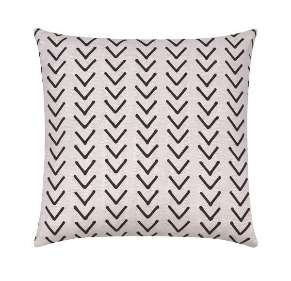 Boho Mudcloth Print Ink Black White Tribal Pillow