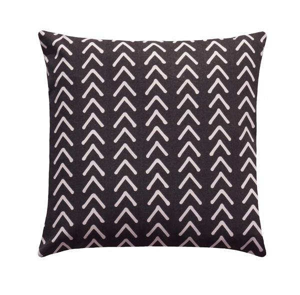 Boho Mudcloth Print Ink Black White Tribal Pillow - Land of Pillows