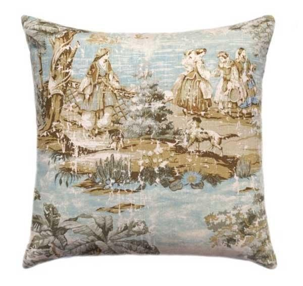 Bosporus Toile Flax Pillow - Land of Pillows