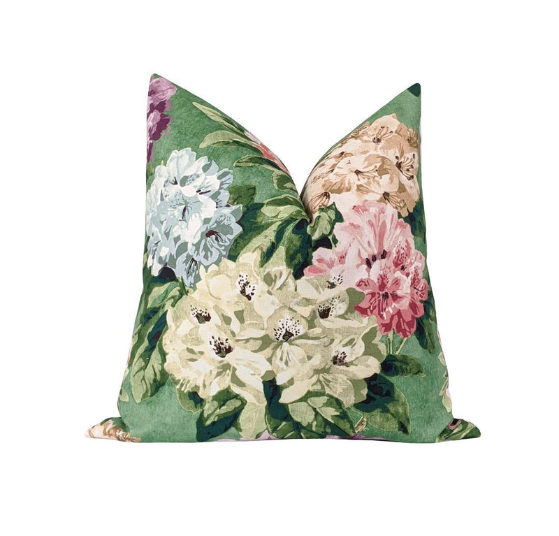 Bright Multi Colored Green Floral Pillow - Land of Pillows
