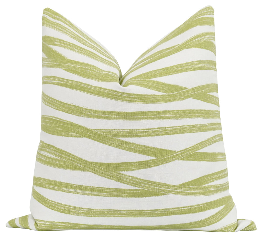 Brushstrokes Leaf Green Throw Pillow - Land of Pillows