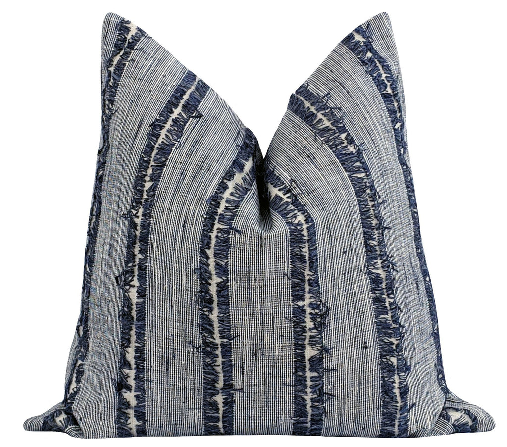 Calhoun Denim Fringed Stripe Pillow - Land of Pillows