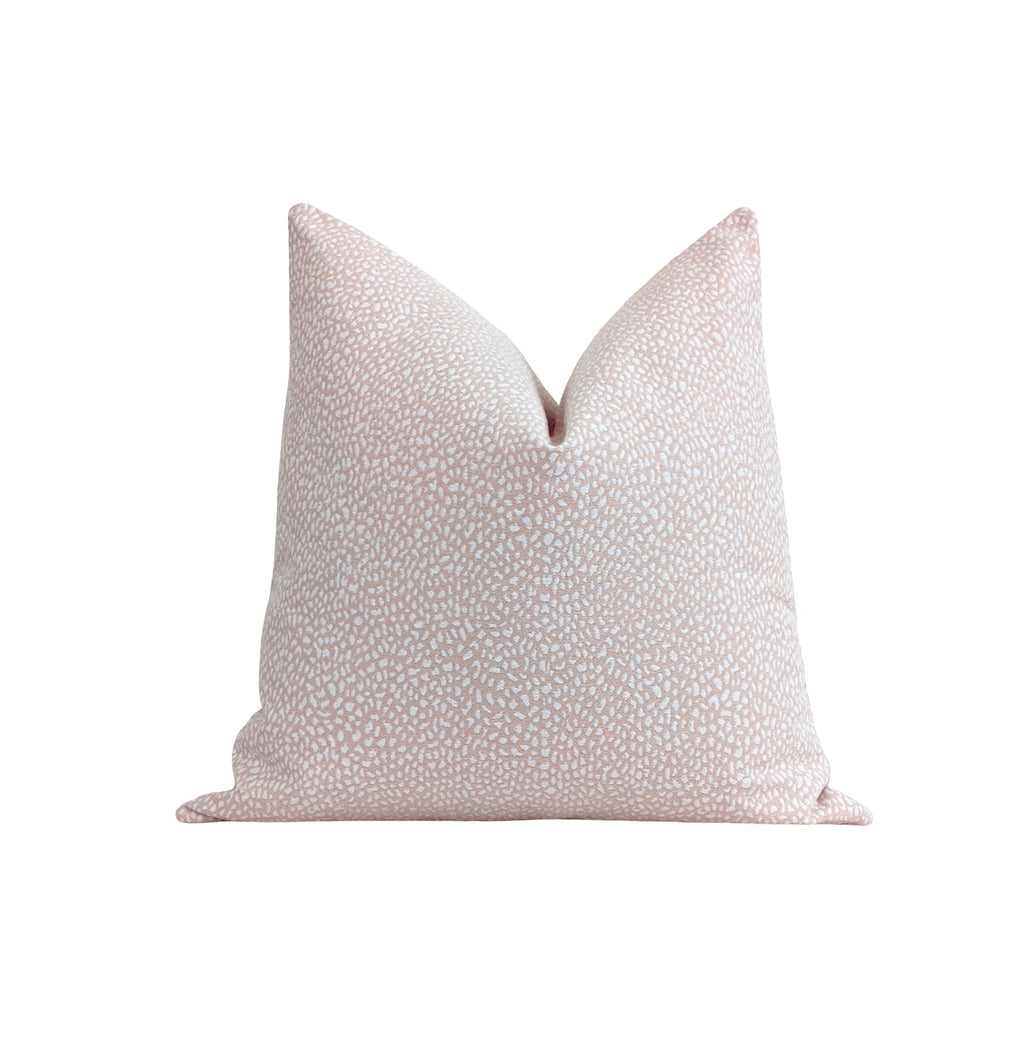 Cameo Blush Pink Ikat Polka Dot Pillow - Land of Pillows