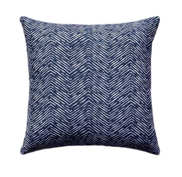 Cameron Navy Ikat Herringbone Pillow - Land of Pillows