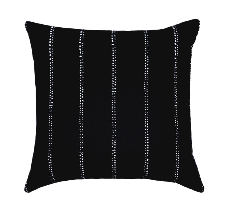 Carlo Black Pinstripe Polka Dot Pillow - Land of Pillows