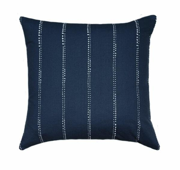 Carlo Oxford Navy Blue Vertical Stripe Outdoor Pillow - Land of Pillows