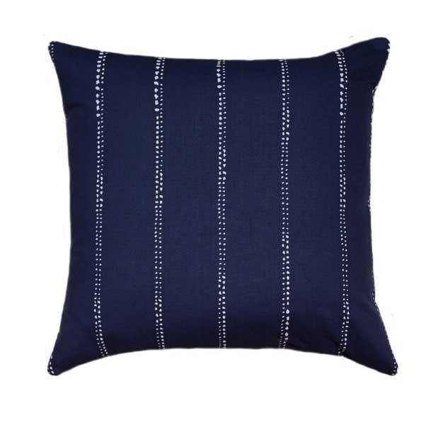 Carlo Vintage Indigo Blue Polka Dot Pinstripe Pillow - Land of Pillows