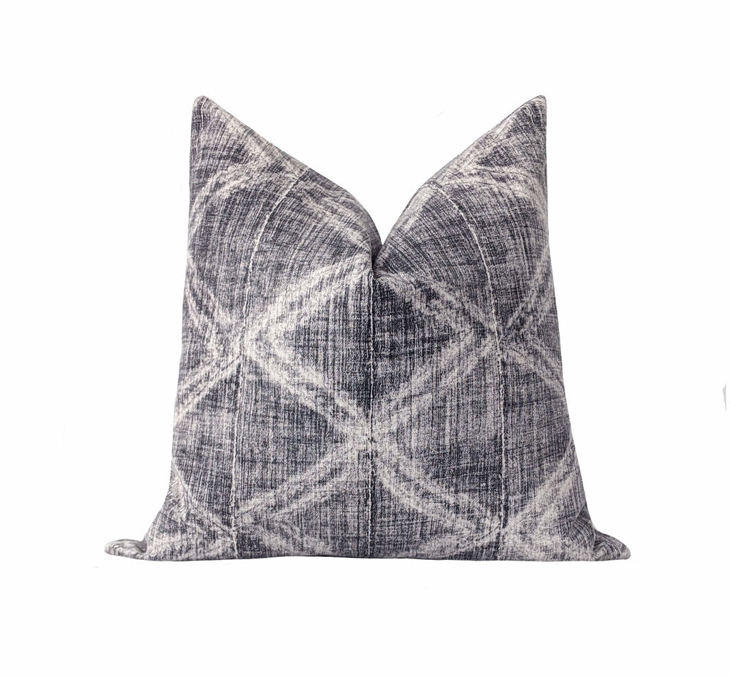 Charcoal Grey Diamond Mudcloth Print Pillow - Land of Pillows
