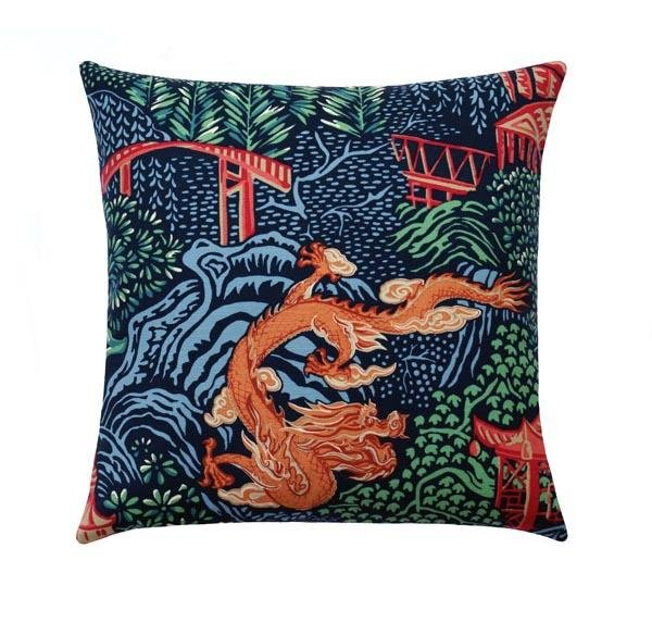 Chinese Dragon Chinoiserie Toile Navy Blue Linen Pillow - Land of Pillows