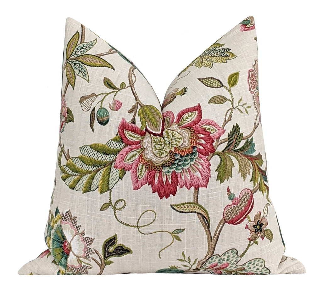 Claire Jewel Colorful Jacobean Floral Pillow - Land of Pillows
