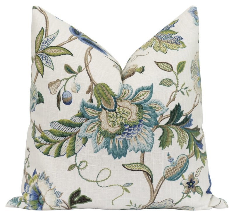 Claire Sapphire Jacobean Floral Pillow - Land of Pillows