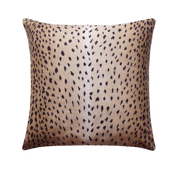Classic Black Antelope Fawn Deer Print Linen Pillow - Land of Pillows