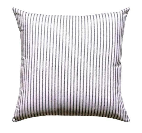Classic Black Ticking Stripe Pillow - Land of Pillows