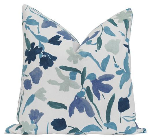 CLEARANCE Aqua and Blue Floral Pillow - Land of Pillows