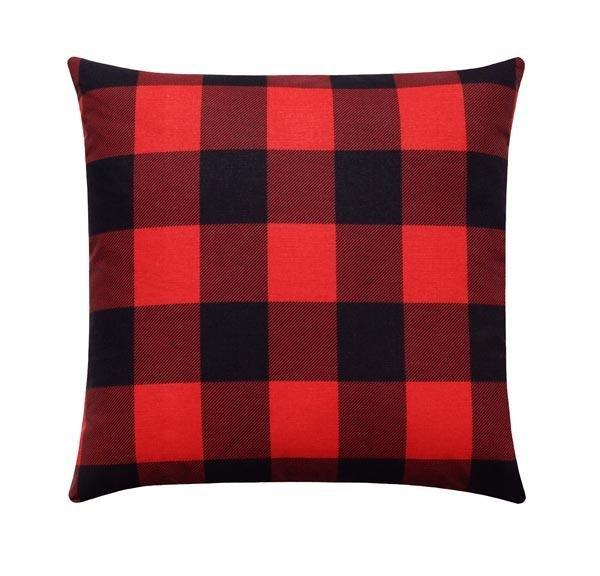 Red and Black Buffalo Check Plaid Pillow