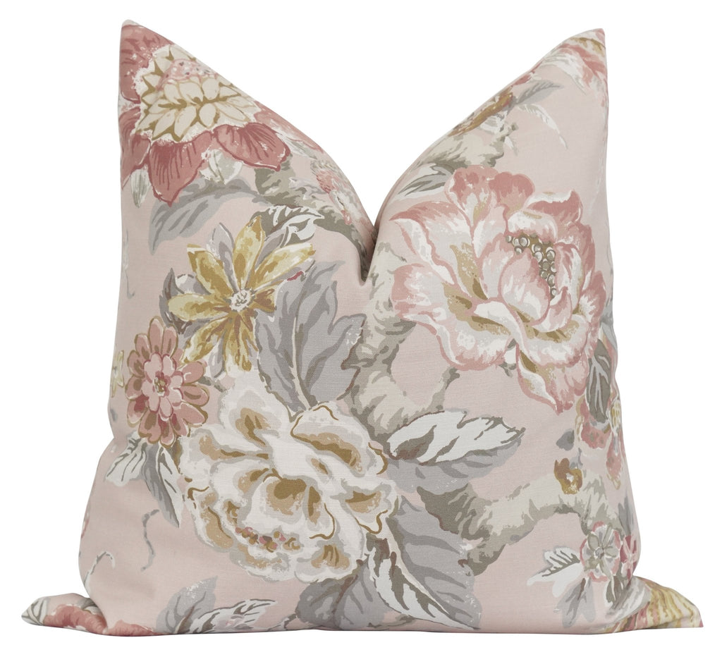 Conover Blush Pink Floral Pillow - Land of Pillows